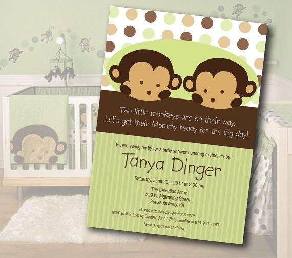 Twin monkey baby shower invitation monkey baby shower invitations twin monkey baby shower invitation solutioingenieria Choice Image