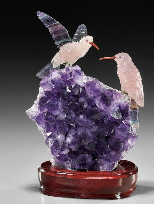 Pair of  Hummingbirds of Rose QuartzFluorite and Amethyst 6