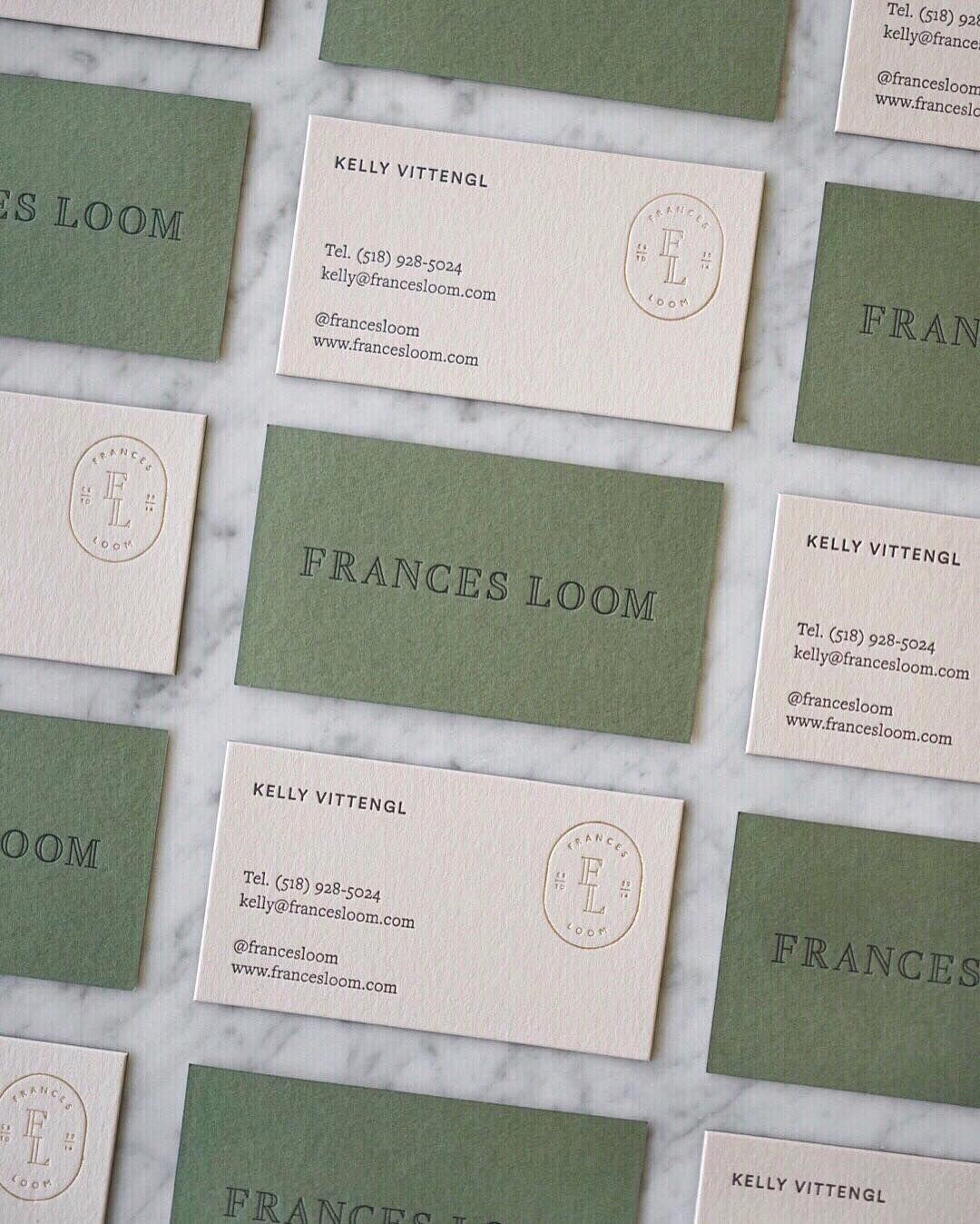 Brand Identity And Business Cards For Frances Loom Jessica Comin Letterpress Business Card Design Letterpress Business Cards Business Card Design Inspiration