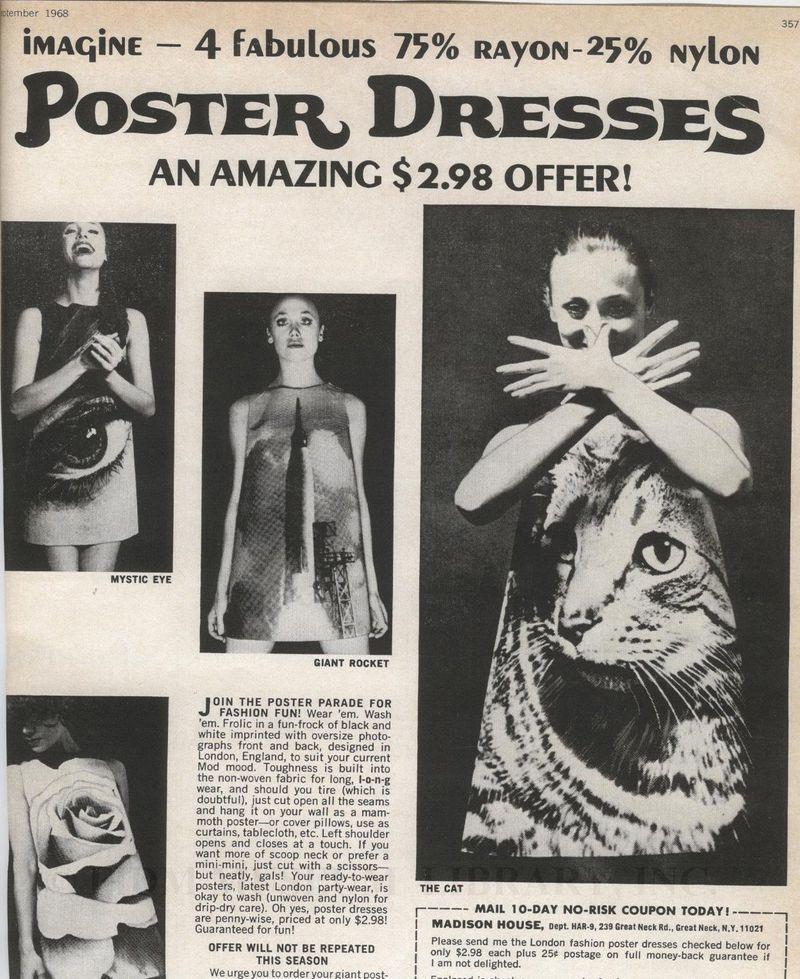 1968 Poster Dresses Ad Paper Dress Mystic Eye Vintage Ads