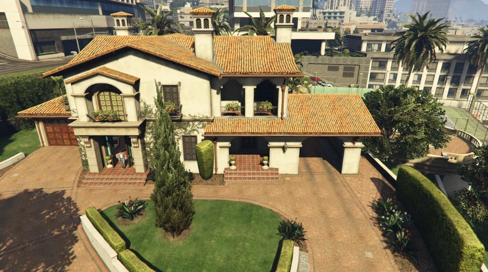The De Santa Residence Is A Safehouse In Grand Theft Auto V The Mansion Is Located In Rockford Hills An Affluent Residential N In 2020 New House Plans House Mansions