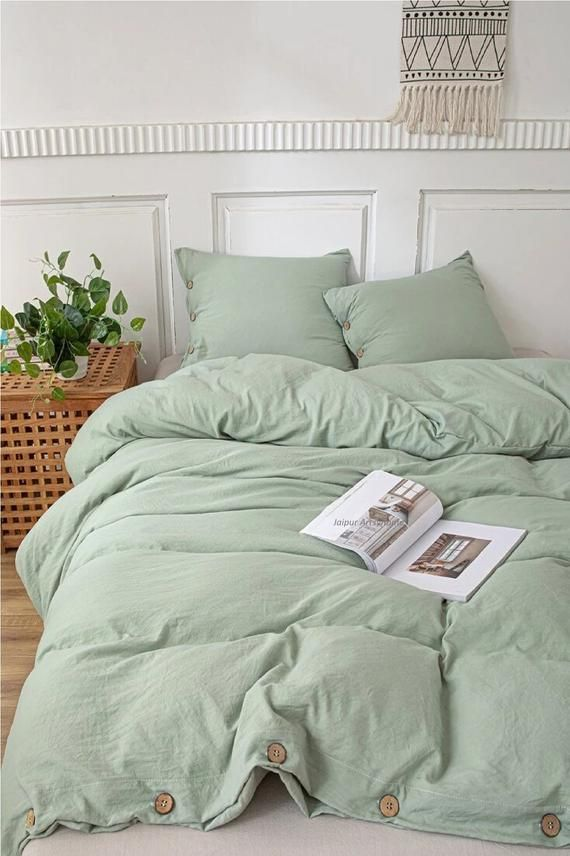 Cotton Duvet Cover In Sage Green Duvet Cover With Buttons Etsy In 2021 Sage Green Bedroom Green Duvet Covers Green Duvet