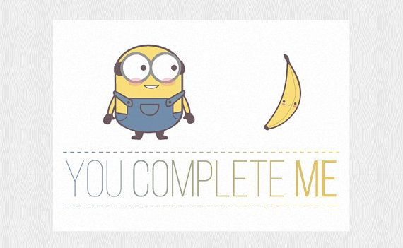 Minions and banana Funny anniversary printable PDF DIY - Greeting - anniversary printable cards