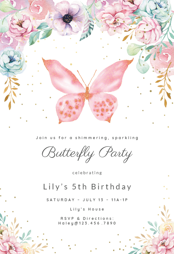 Pink Glitter Butterfly Party Invitation Template Free Greetings Island Butterfly Birthday Party Invitations Butterfly Birthday Invitations Butterfly Party Invitations