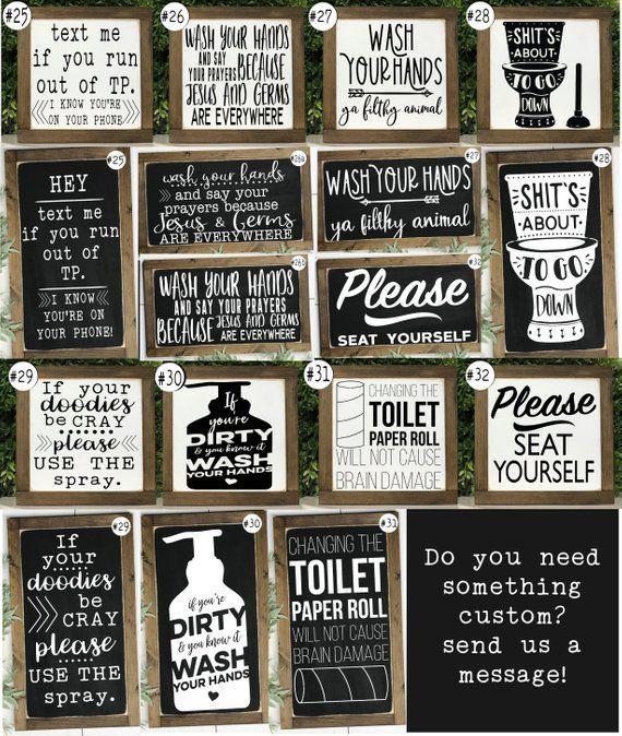 Photo of funny farmhouse bathroom signs