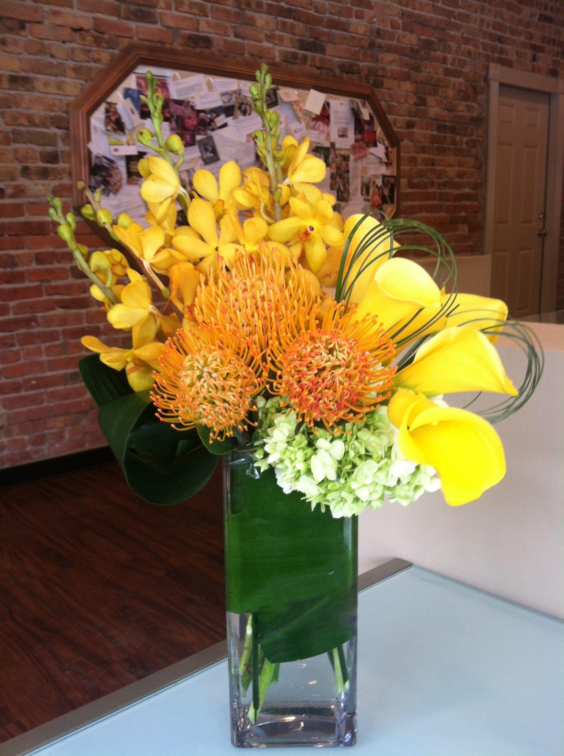 Send Yellow calla lilies, mokara orchids, and pincushions