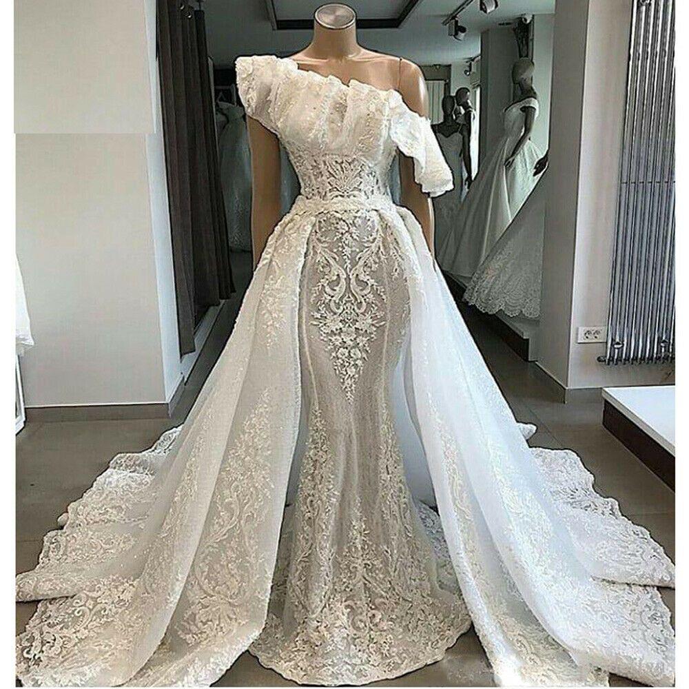 Abiti Da Sposa Ebay.Ebay Ad One Shoulder Wedding Dress With Detachable Train Applique
