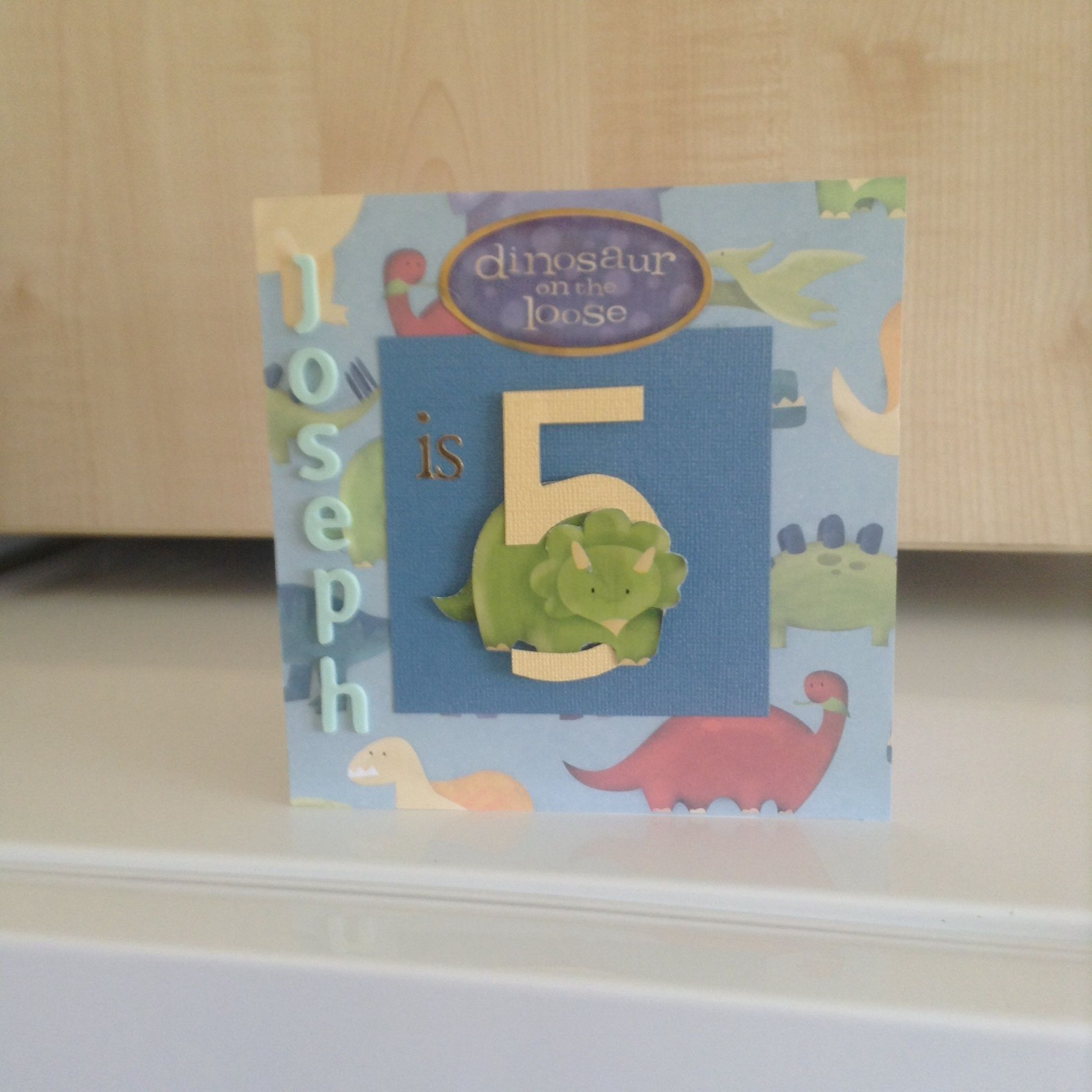 Birthday Card For 5 Year Old Boy With The Dinosaur Walking Through Hand Cut Number Five