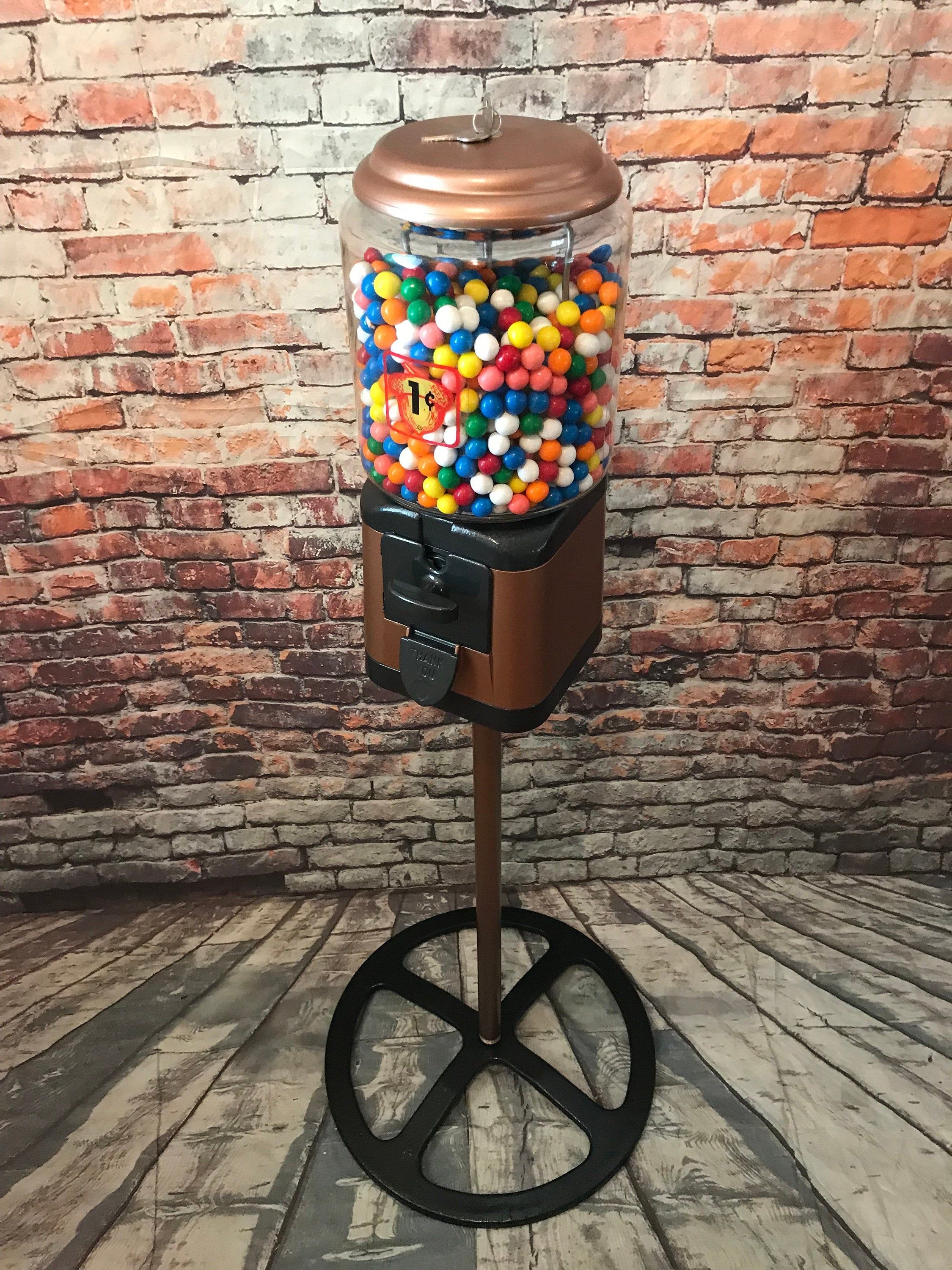 vintage penny Acorn gumball candy machine 1 cent gum machine with wheel stand