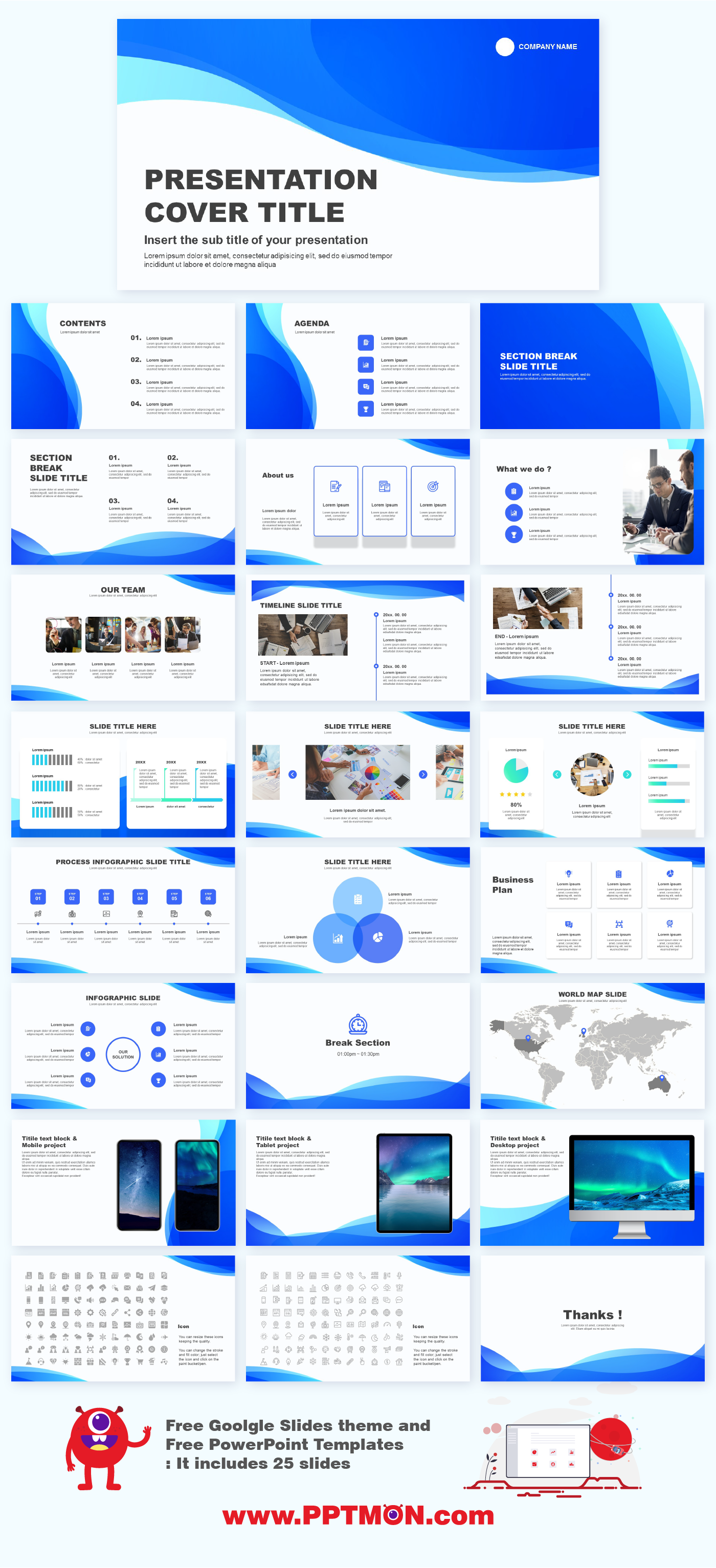Wave Design Free Presentation Templates Google Slide Theme Powerpoint Template Free Download Design Download Free Google Powerpoint Pre En 2020