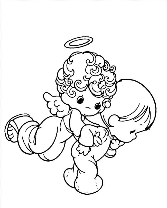 cartoon angel coloring pages | Angel And Baby Precious Moments Coloring Pages - Precious ...