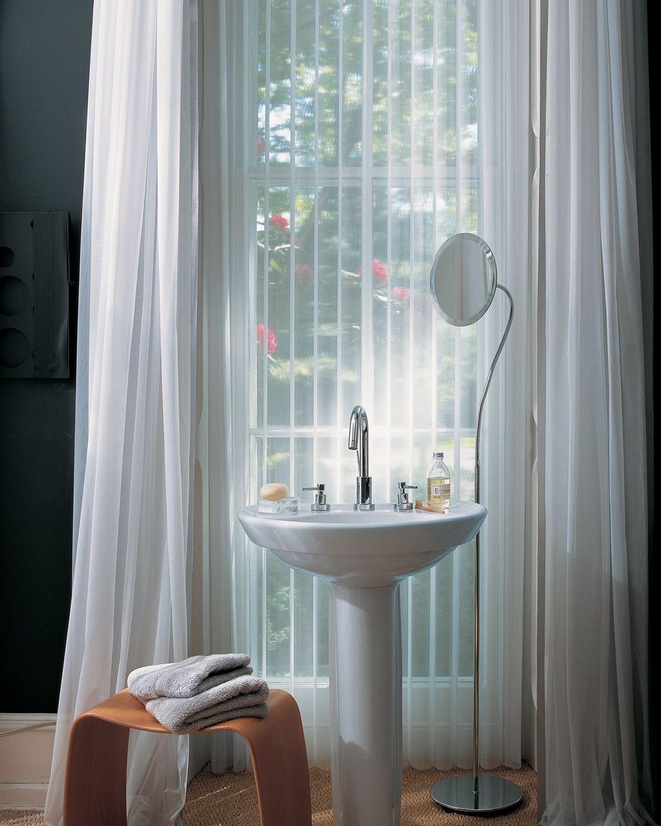 luminette with wand cord operation in the bathroom with draperies rh pinterest com