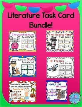 This task card bundle would be a great addition to your Literacy Centers!Includes:Chrysanthemum Task CardsThe Kissing Hand Task CardsGloria and Officer Buckle Task CardsHi! Fly Guy Task CardsKoala Lou Task CardsThe LIttle Old Lady Who Was Not Afraid of An