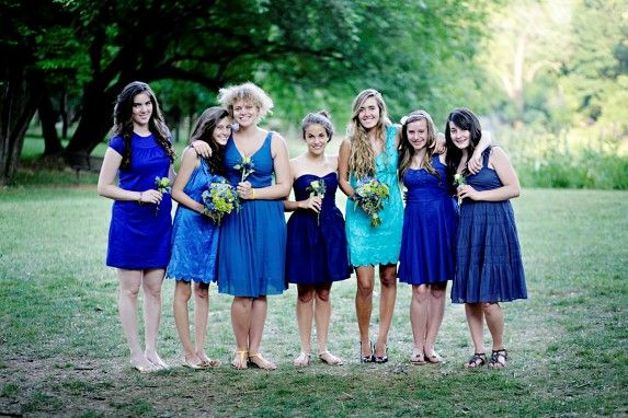 Blue mismatched bridesmaids. | And now we are married. | Pinterest ...