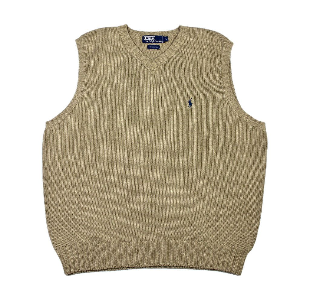Vintage Polo by Ralph Lauren Sweater Vest in Khaki Mens Size Large ...