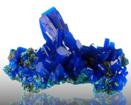 Translucent Neon Blue Chalcanthite Crystals on Matrix Poland