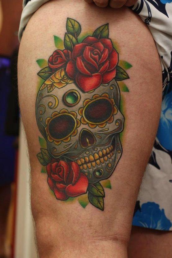Sugar Skull Tattoo Meaning Sugar Skull Com Rosas Vermelhas By