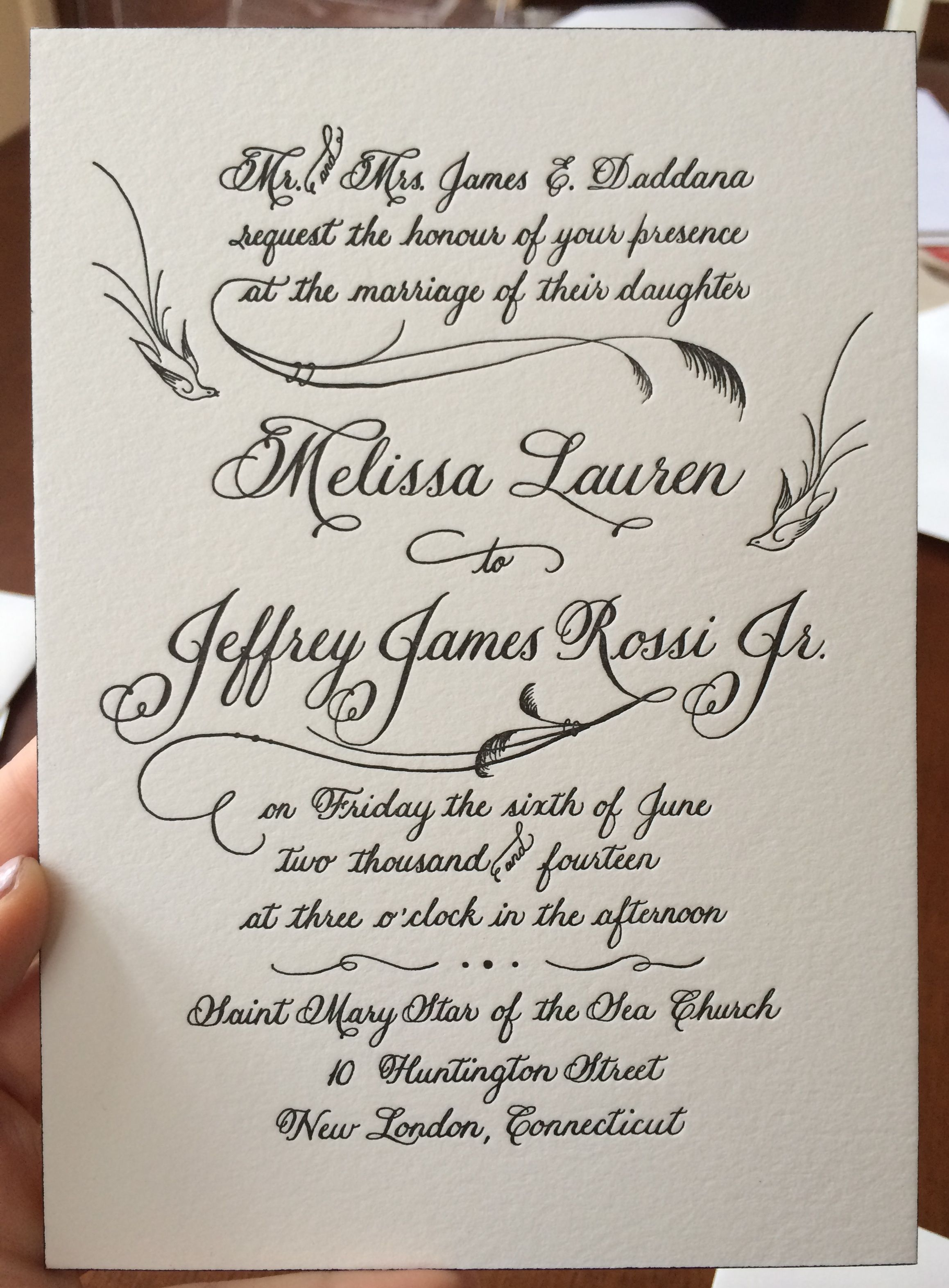 what write on wedding invitation%0A wedding invitation design by Renee u     at Calligraphy with Style  printed by  Sarah at Letterpress