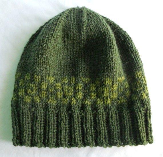 Men's Wool Winter Hat - Dark Green with Fair Isle style border ...