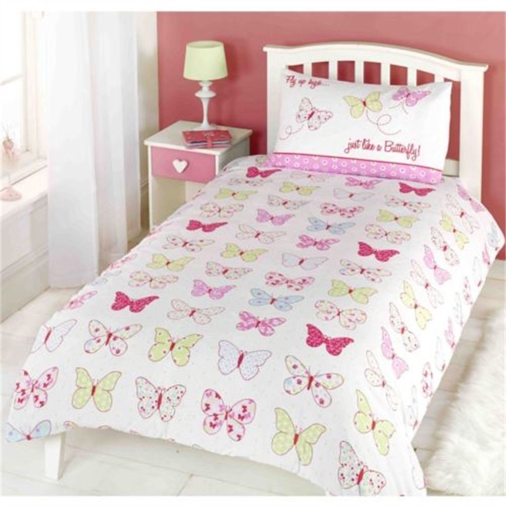Copripiumino Kinder.Childrens Girls Butterfly Fly Up High Duvet Cover Quilt Bedding