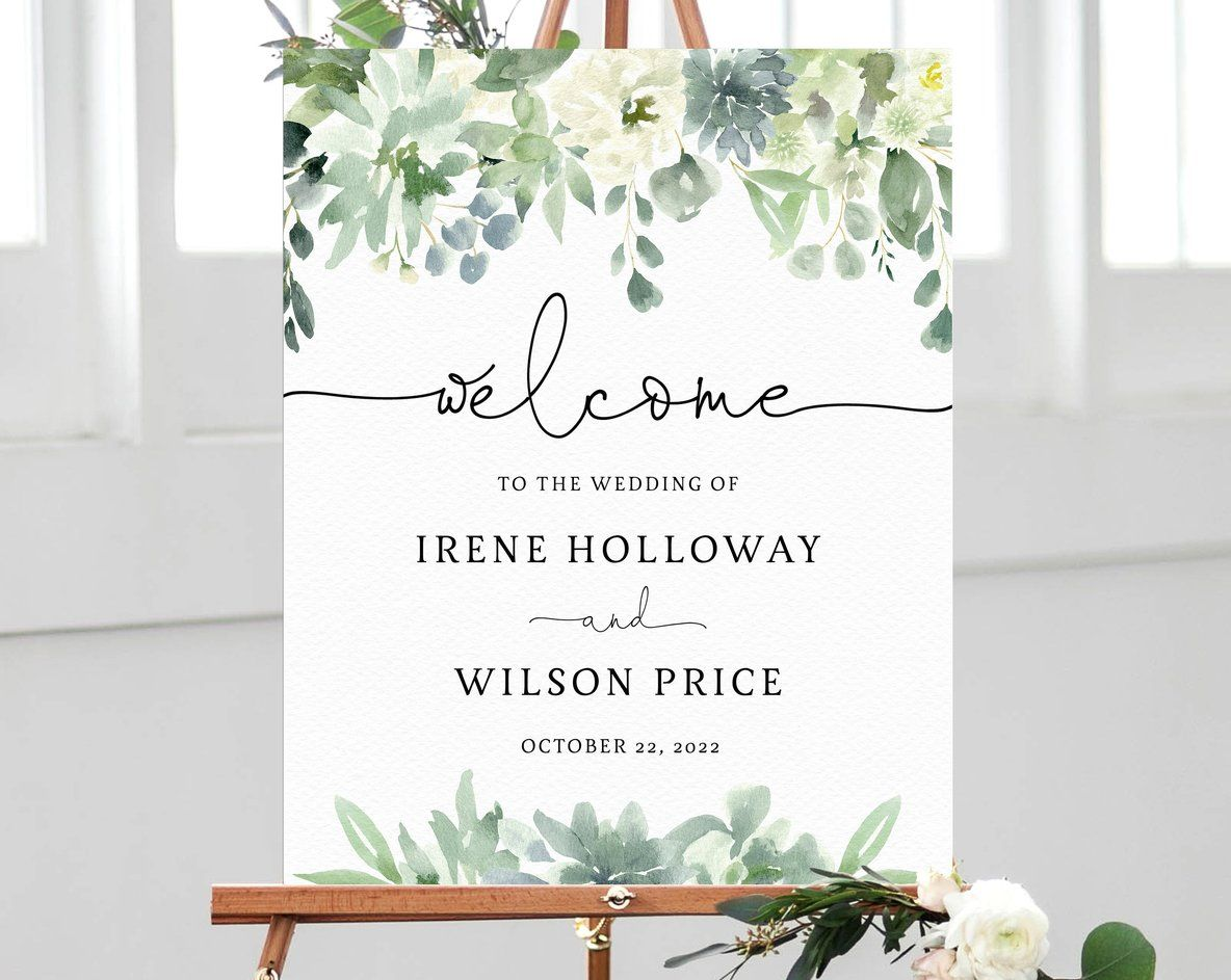 Succulent Wedding Welcome Sign Template Welcome To The Wedding Printable Welcome Board Instant Download Templett W40 Wedding Welcome Board Wedding Welcome Wedding Welcome Signs