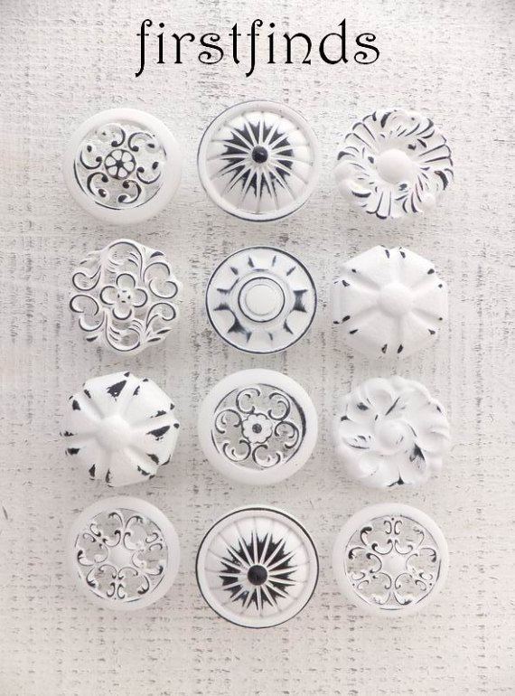 16 white knobs drawer pulls shabby chic furniture hardware kitchen rh pinterest com