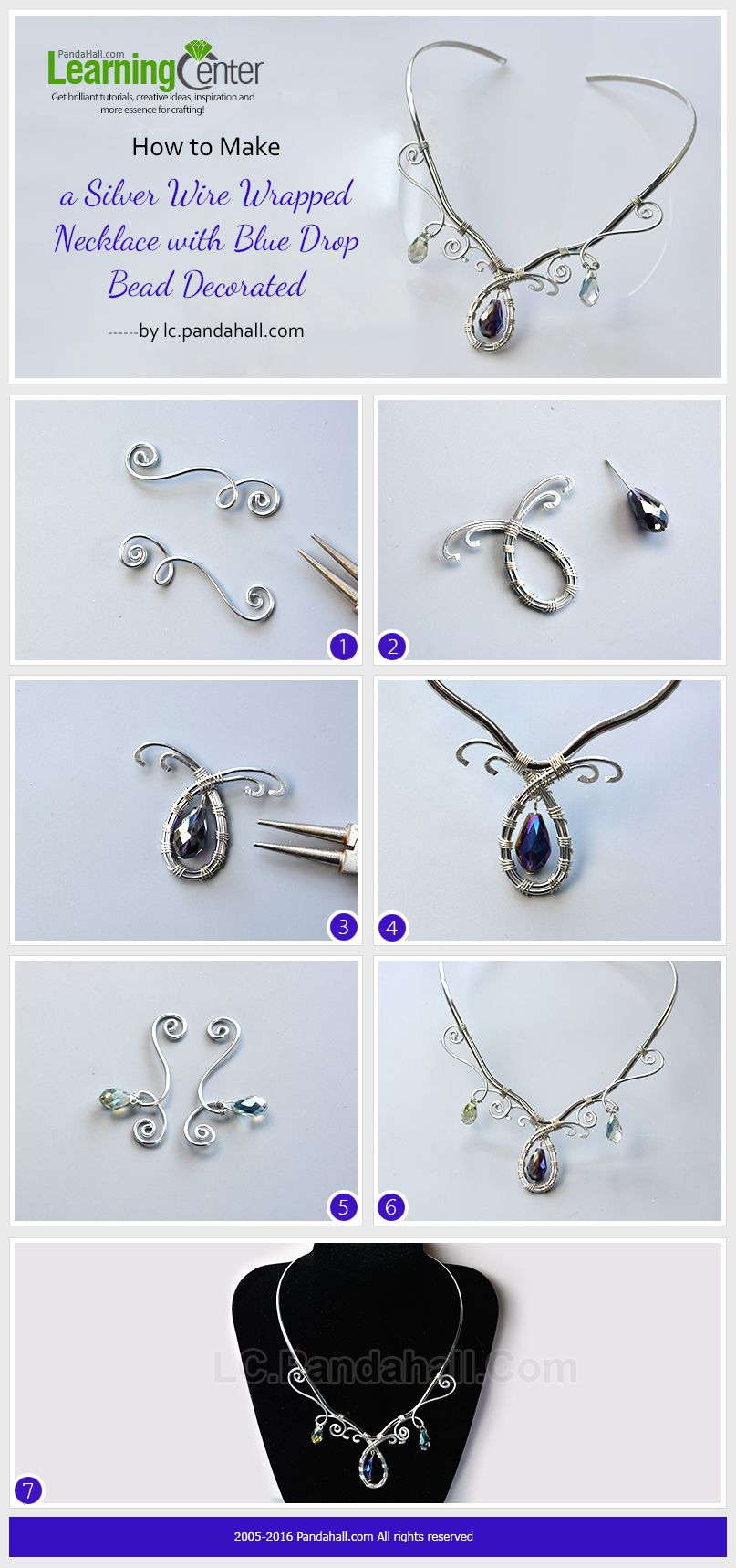 How-to-Make-a-Silver-Wire-Wrapped-Necklace-with-Blue-Drop-Bead ...