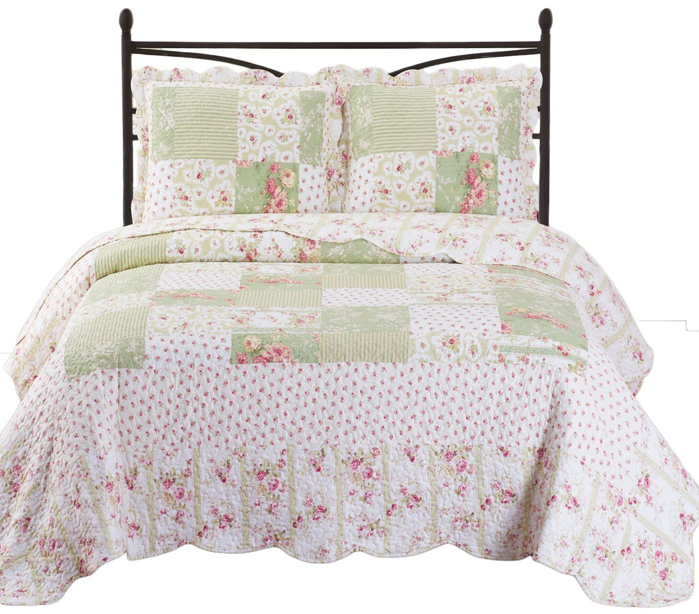 Upland King Cal King Size Oversized Quilt 3pc Set 110x96 Luxury Microfiber Printed Coverlet By Royal Tradition For Mo Quilt Sets Quilt Bedding Bedding Sets