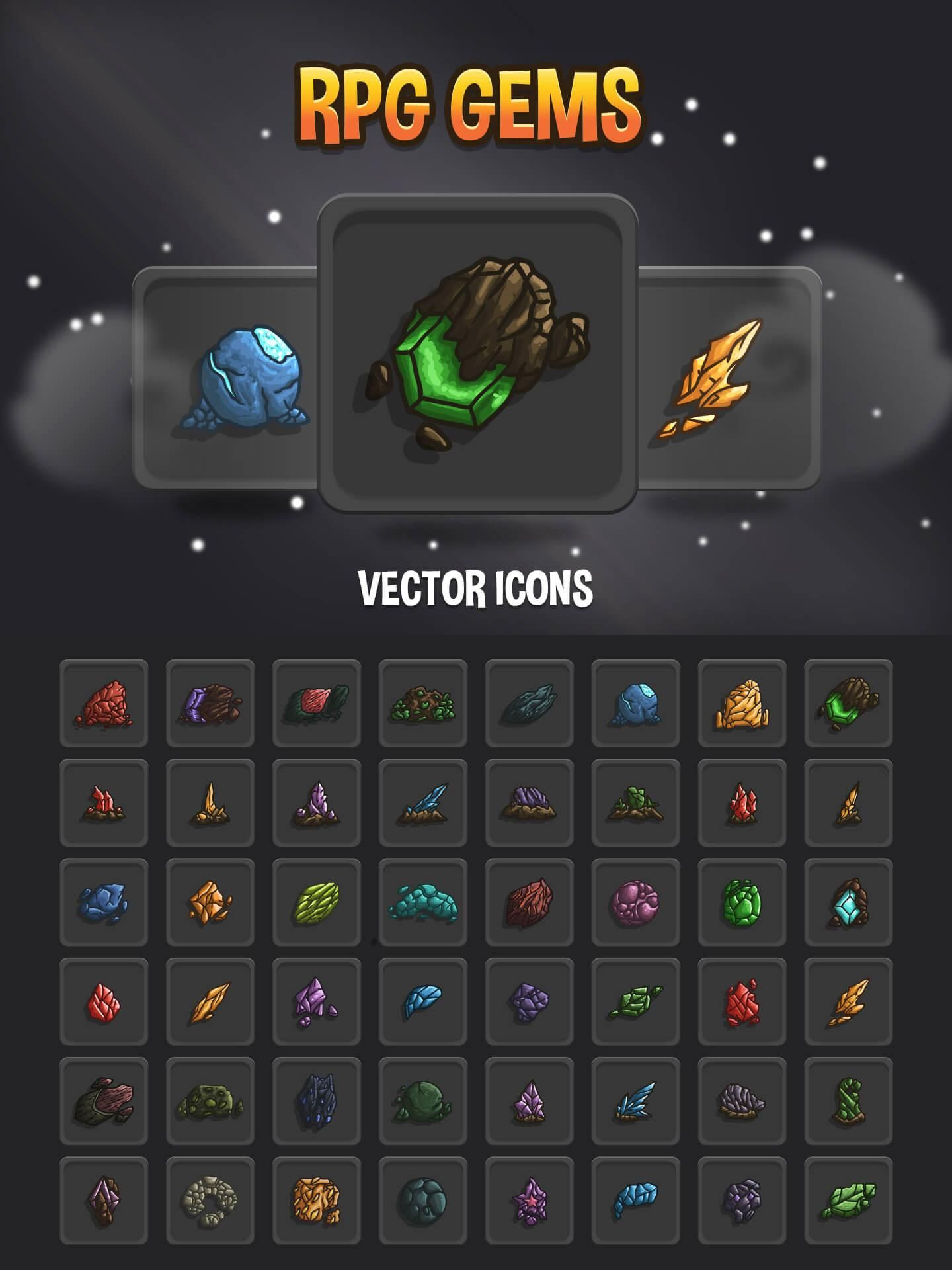 RPG Gems Vector Icons in 2020 Vector