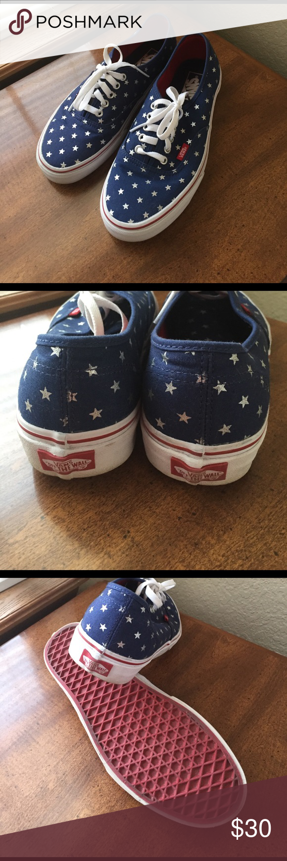 Americana Vans size 9 Practically new sneakers. Worn one time out shopping.  Blue with silver stars and red soles. Clean white laces. b0b31b1bdc3