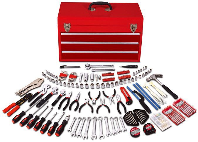 297 Piece All Purpose Mechanics Tool Kit in Three Drawer Steel Tool Box
