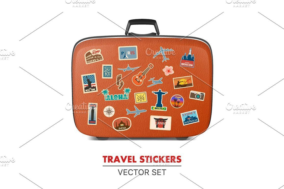 Travel Stickers And Suitcase Travel Stickers Suitcase Stickers Sticker Collection [ 772 x 1160 Pixel ]