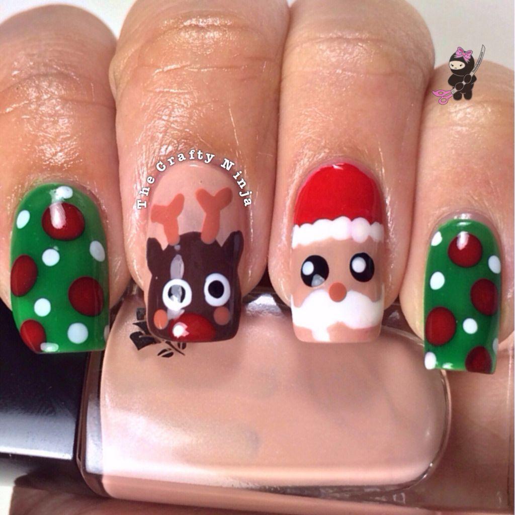 Santa and Rudolph Reindeer Nails | Christmas nail designs easy, Christmas  nail designs, Christmas nails easy