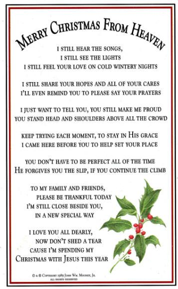 My First Christmas In Heaven.Merry Christmas From Heaven Bookmark Prayer Card Pkg Of