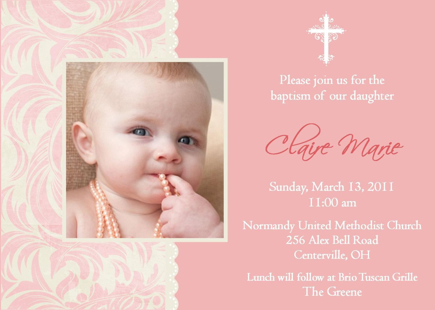 Baptism Invitation Christening Invitation with Photo baptism invitation templates word
