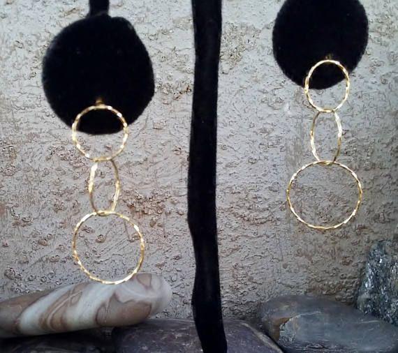 14k Gold Rings Dangle Earrings 1980s Dangling Circle