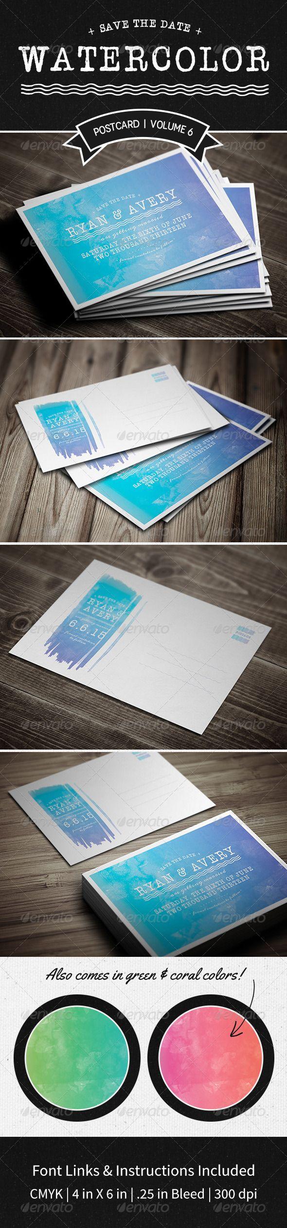 wedding invitation design psd%0A Save The Date Postcard   Volume     Watercolor  u     Photoshop PSD  card   typography