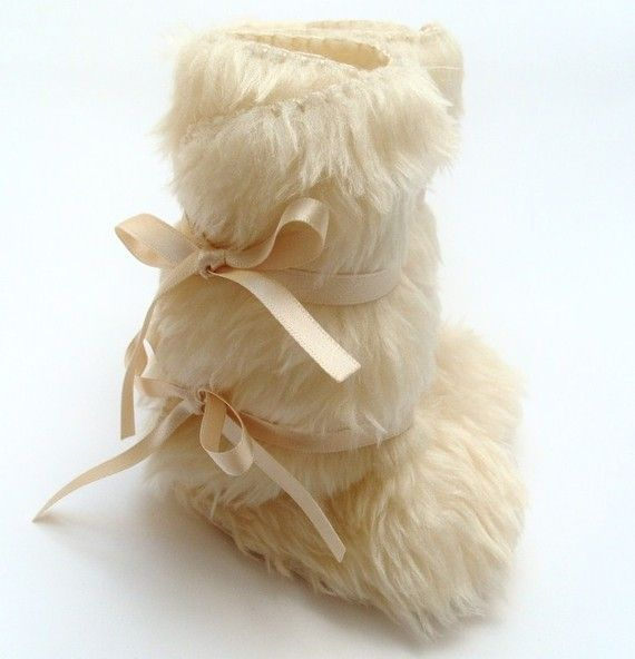 Ivory Furry Faux Fur Wedding Boots Christening Baptism by funkyshapes, $32.95