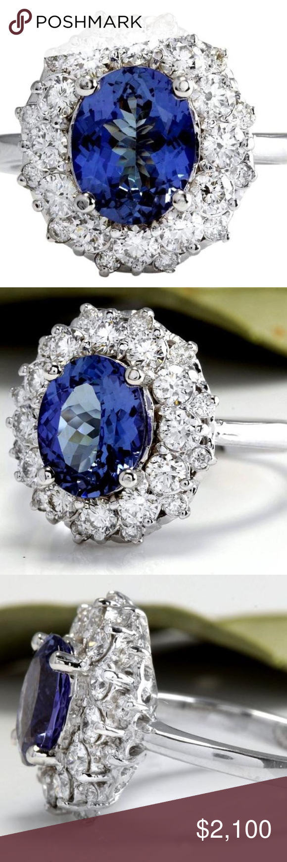 4 25ct Natural Tanzanite Diamond 14kw Gold Ring Tanzanite Diamond Womens Jewelry Rings White Gold Rings