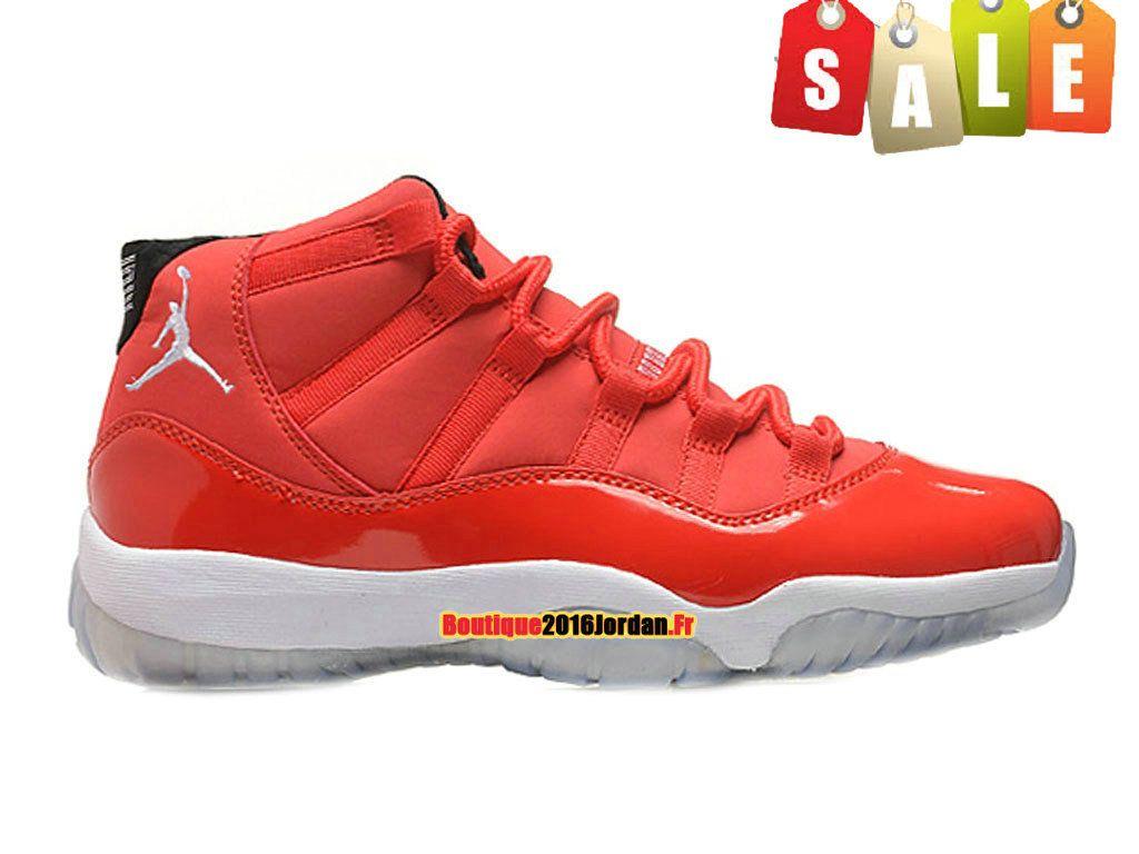detailed look d7a84 d12ce Air Jordan 11 XI Retro Three-Quarter - Chaussure Jordan Basket Pas Cher Pour  Homme Rouge Blanc 378037-003H