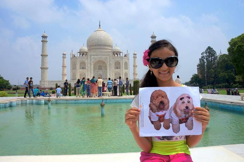 Maggie and Annie at the Taj Mahal - the Dynamic Doodle Darlings Tour. Hodgkins Orthodontics. Cedar Park, TX. http://www.10grin.com/