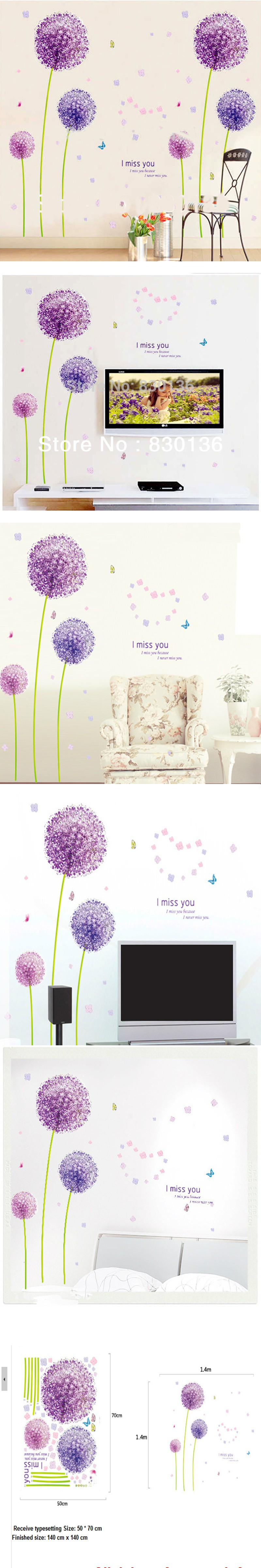 Purple dandelion creative romantic home furnishing wall of bedroom walls can remove wall stickers $8.36