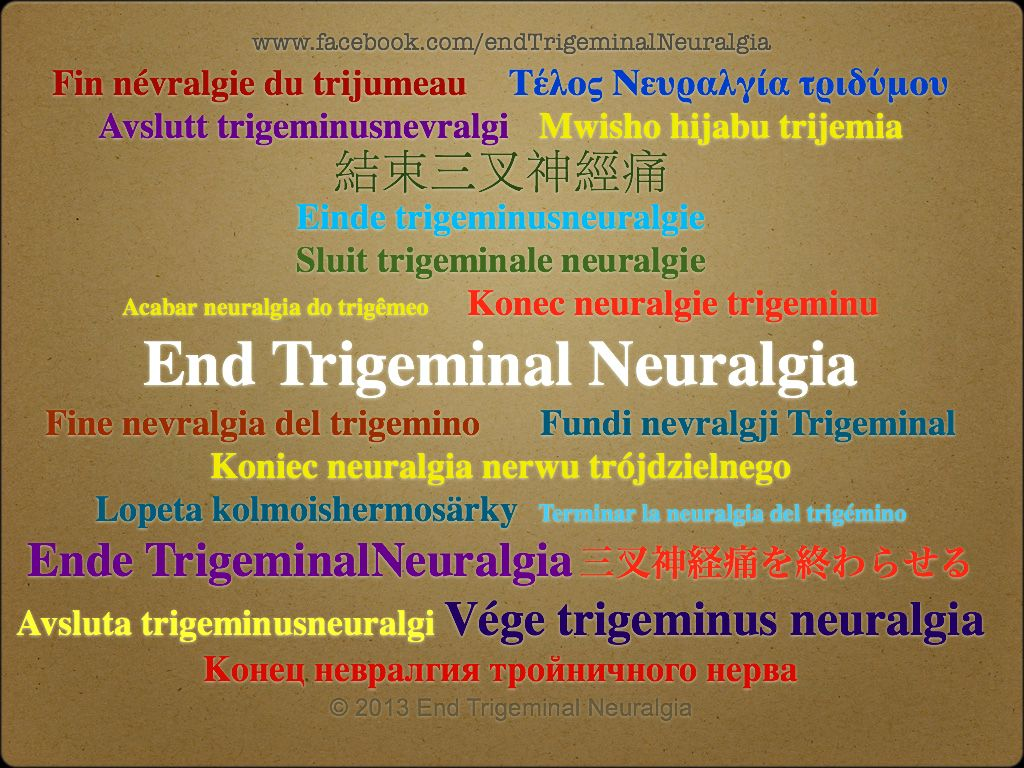 We all want the same thing. World wide. To End Trigeminal Neuralgia. This short video can be viewed on our Facebook awareness page. https://www.facebook.com/photo.php?v=4191368871828=vb.270643896391124=3