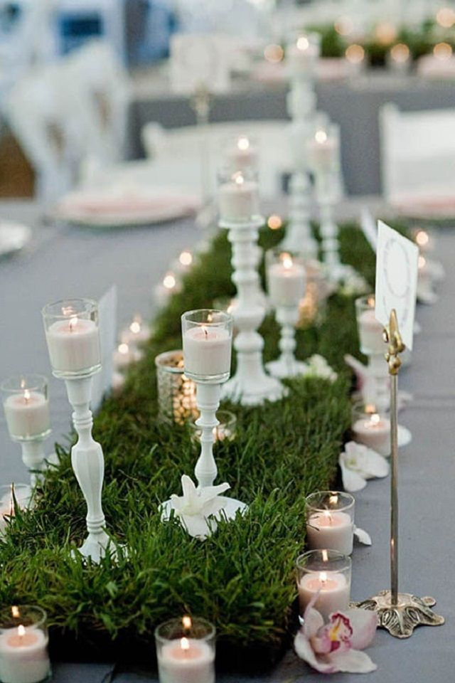 pinterest wedding table decorations candles%0A Grass table runner for your wedding   who knew