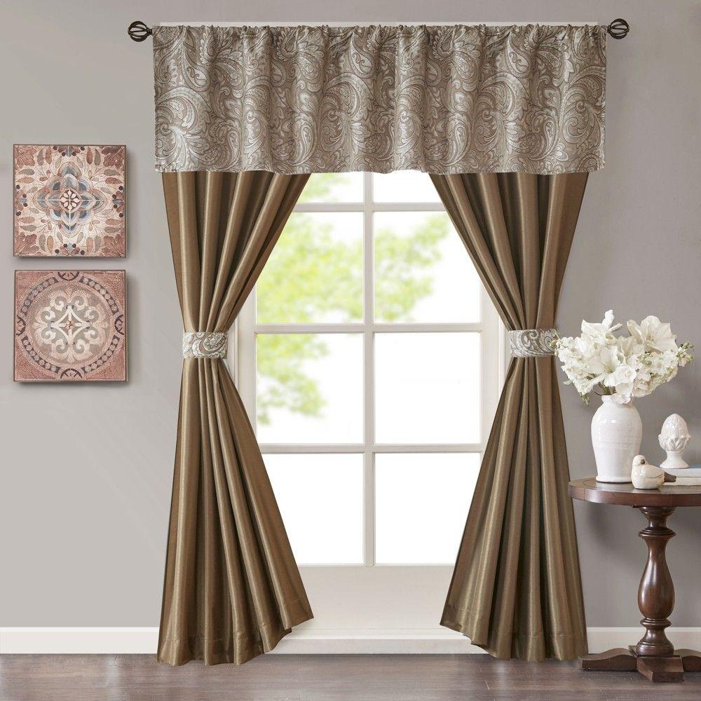 Valerie Jacquard Faux Silk 5pc Window Set Brown 50 Quot X84