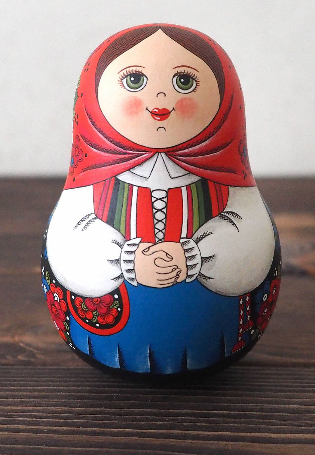Hand Painted Matryoshka Roly Poly Doll. Norwegian Traditional Costume #dollcare