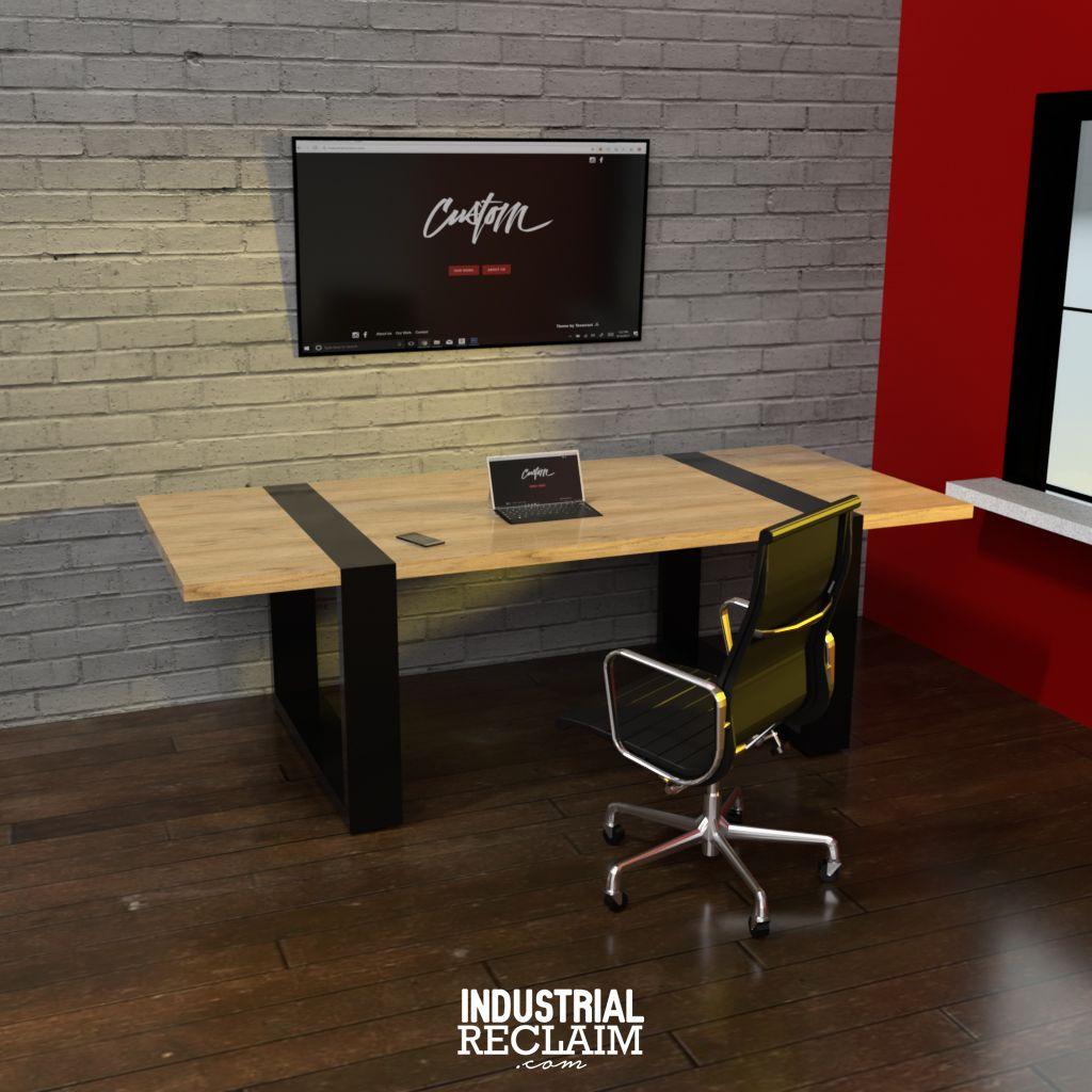 clean modern industrial desk workspace industrialreclaim com rh pinterest com