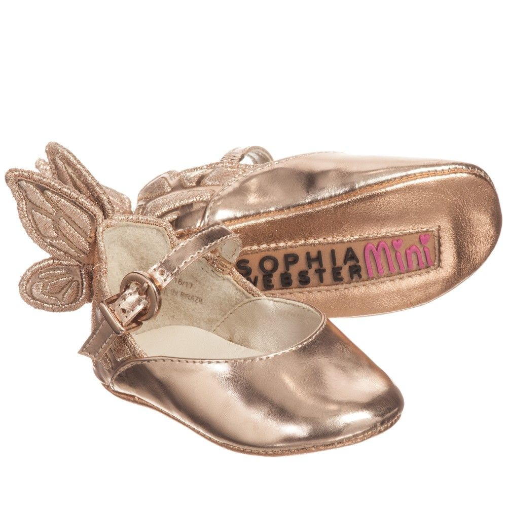 81eb6e3ef096 Baby girls rose gold leather  Chiara  butterfly pre-walker shoes by Sophia  Webster Mini. These pretty shoes have feature butterfly wings at the heel