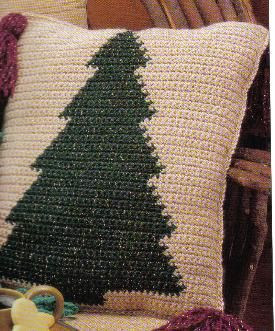 Coussin de sapin de Noël Patrons de crochet gratuits   – Crochet