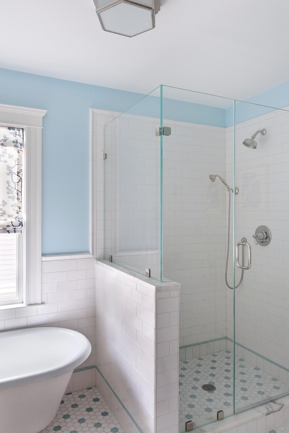 blue and white bathroom with glass mosaic floor tile house rh pinterest com